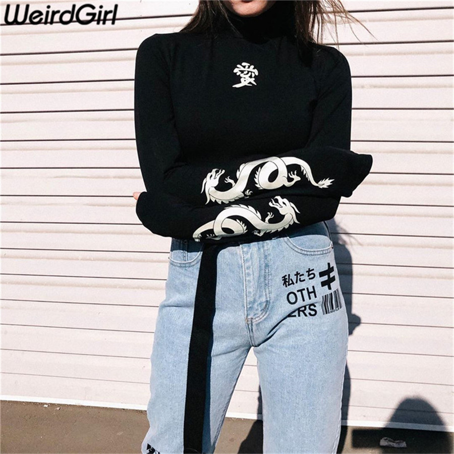 Weirdgirl Women Love Dragon Print T-shirts Reflective Fashion Turtleneck Long Sleeve Tee Slim Harajuku Shirts Female Night Top