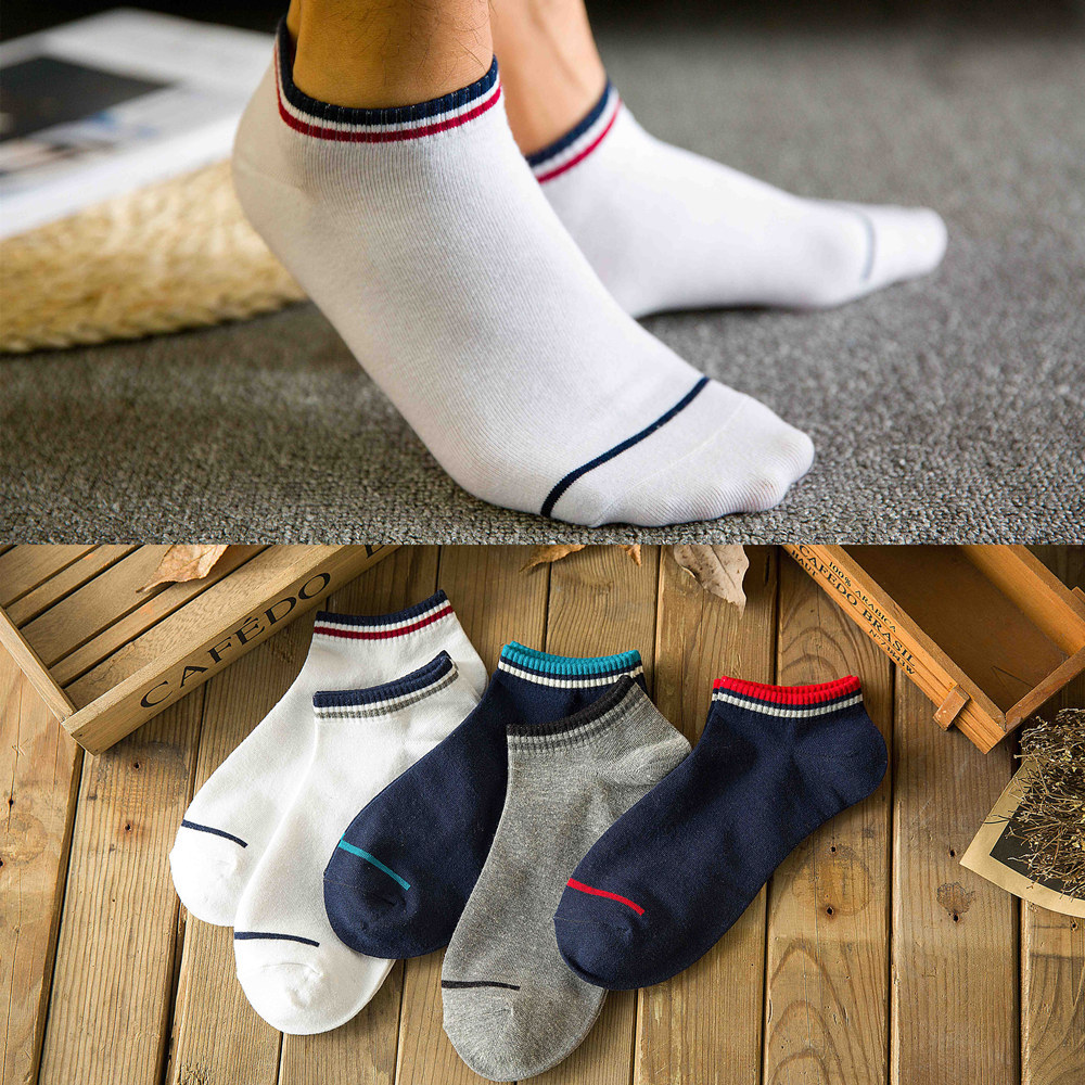 5 Pairs/Lot Men Socks Cotton Casual Sports Patchwork Striped Breathable Boat Socks Short Men Socks Autumn New Ankle Male Meias