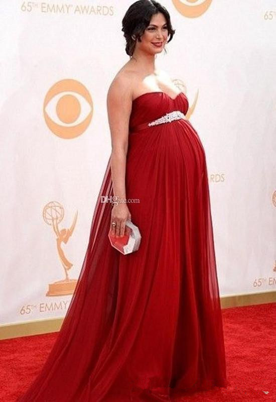 Sweetheart Empire Waist Red Maternity Sweetheart Pregnant Party Prom Evening Gown Custom Made 2018 Mother Of The Bride Dresses