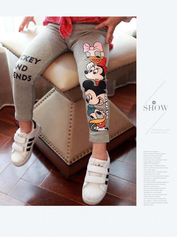 Fashion Cotton mickey Girls Pants Cartoon minnie Girl Leggings Baby Pants Kids Trousers Children Legging Girl Clothing 4 colors 1