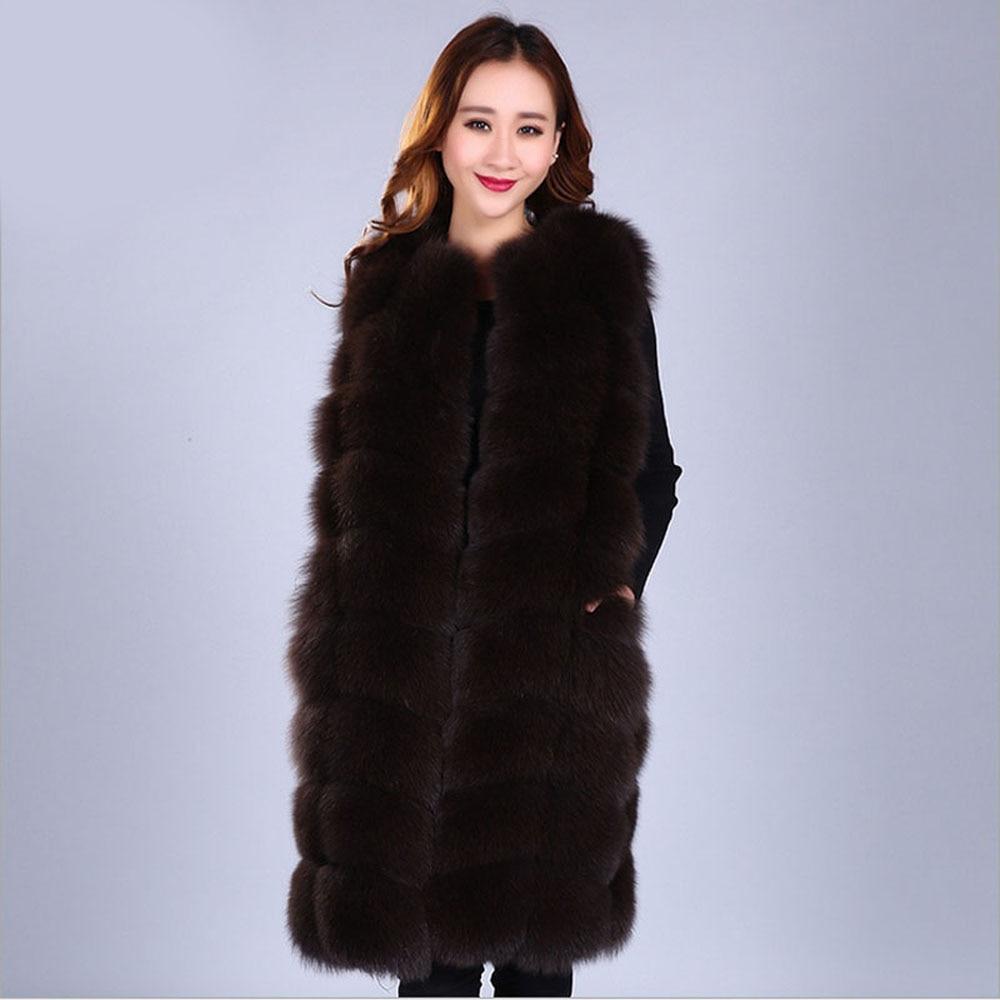 Vente Grey Manteau Style Hiver Grey Femmes Chaud Lady Naturel Fourrure 100 Chaude brown Automne De grey Long dark Color Gilet sable Renard Réel Light 1rn1v