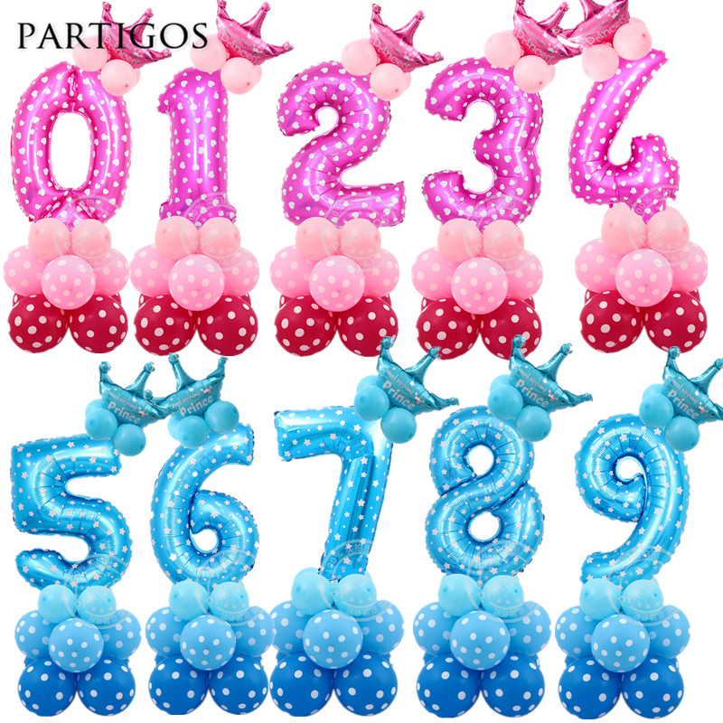 24pcs font b Baby b font Shower Foil Polka Dot Latex Balloons 30inch number balloon Child