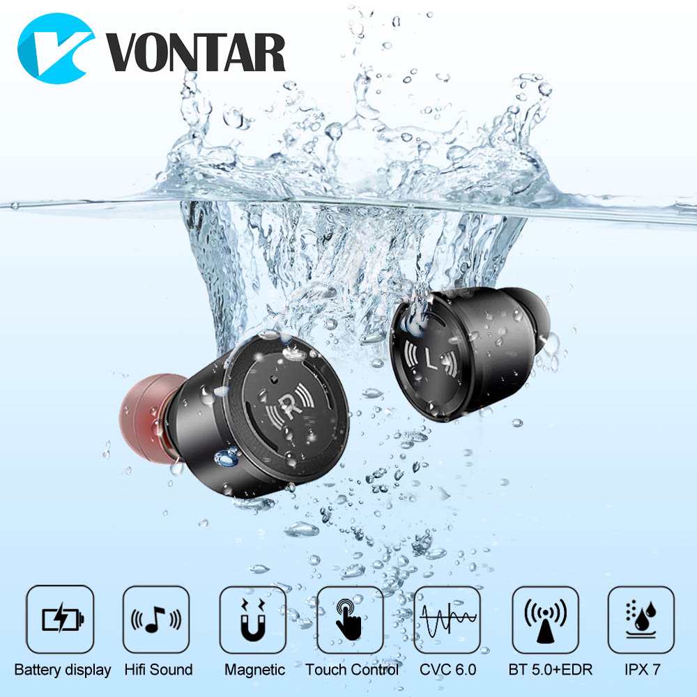 VONTAR S5 Bluetooth 5.0 TWS Water proof Mini Wireless Ear buds Twins Earphone Headphones With Battery Case Hands Free Headsets