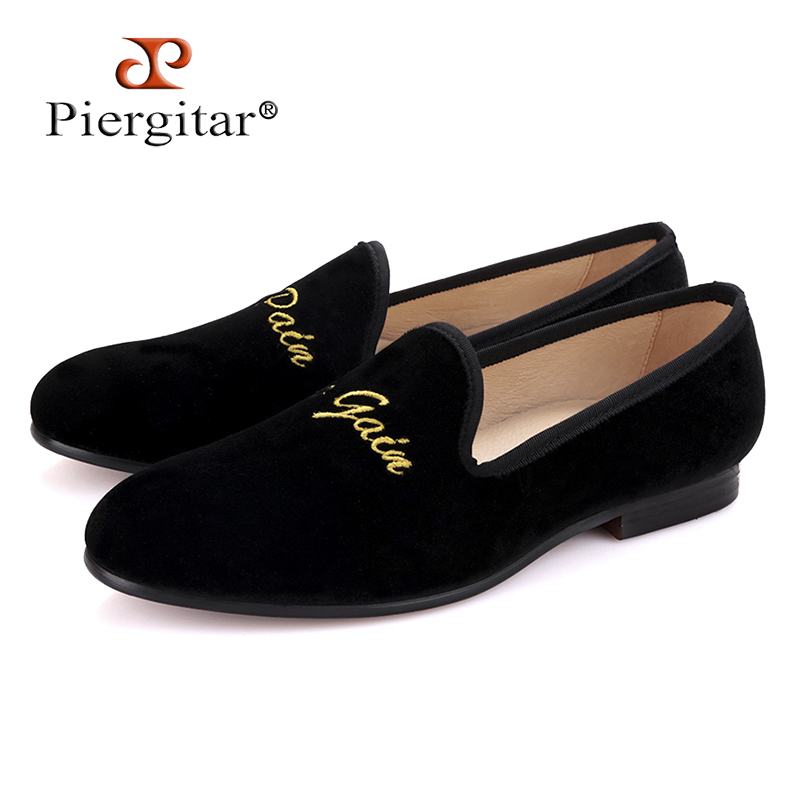 Piergitar new arrival men velvet shoes with new personality embroidery Banquet and Prom men loafers Male smoking slippers