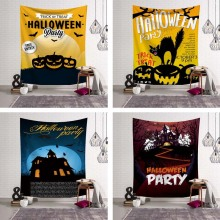 Trick Treat Halloween Wall Hanging Tapestry Cat Pumpkin Lamp Happpy Halloween Party Decoration Skull Cloak Rug Door Ornament