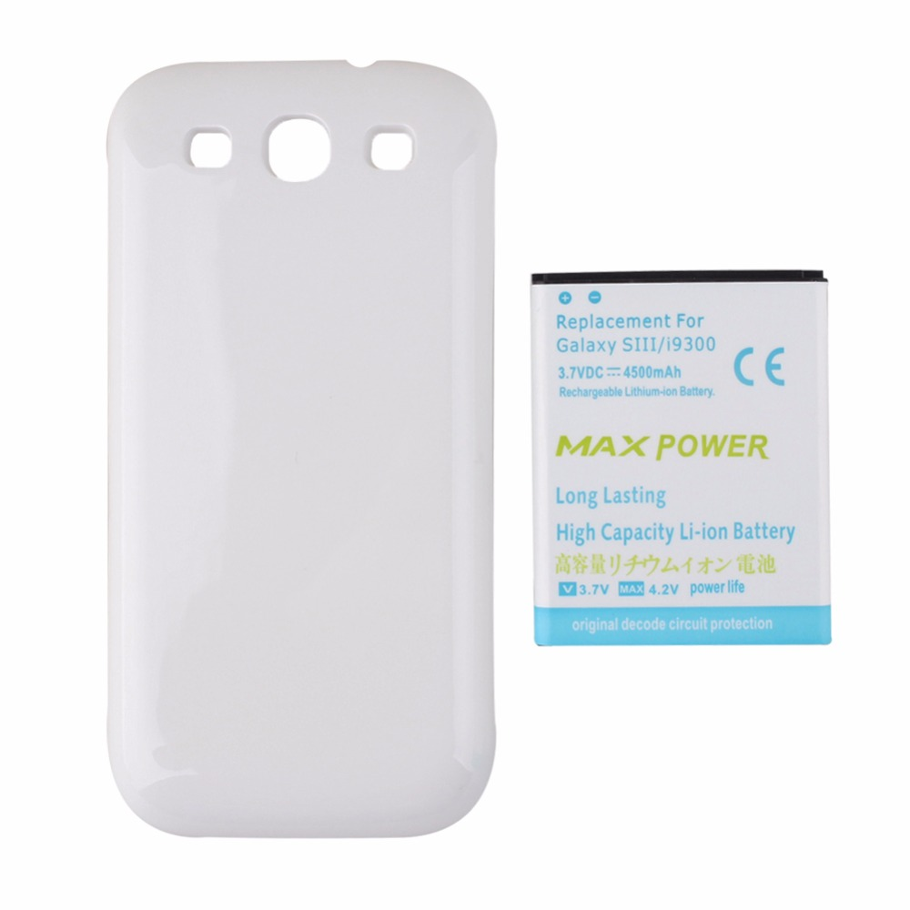 High Capacity 3.7V 4500mAh Replacement Extended Backup Thicker <font><b>Battery</b></font> For Samsung Galaxy S3 i9300 <font><b>Battery</b></font> with White Back <font><b>Cover</b></font>