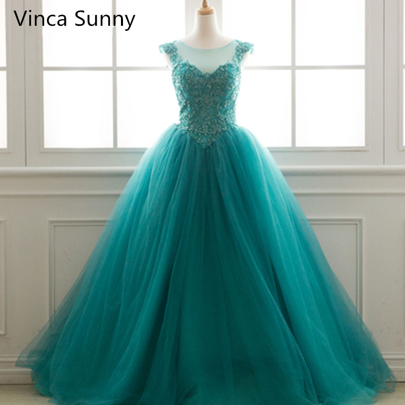 Vinca Sunny 2018 Turquoise Long Prom Dresses Ball Gowns Sleeveless ...