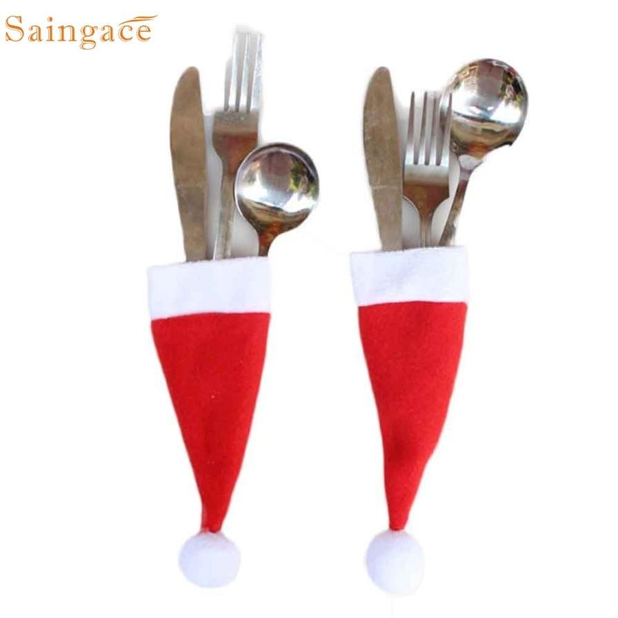 Christmas Decorative tableware Knife Fork Set Christmas Hat Storage Tool Wonderful3.03