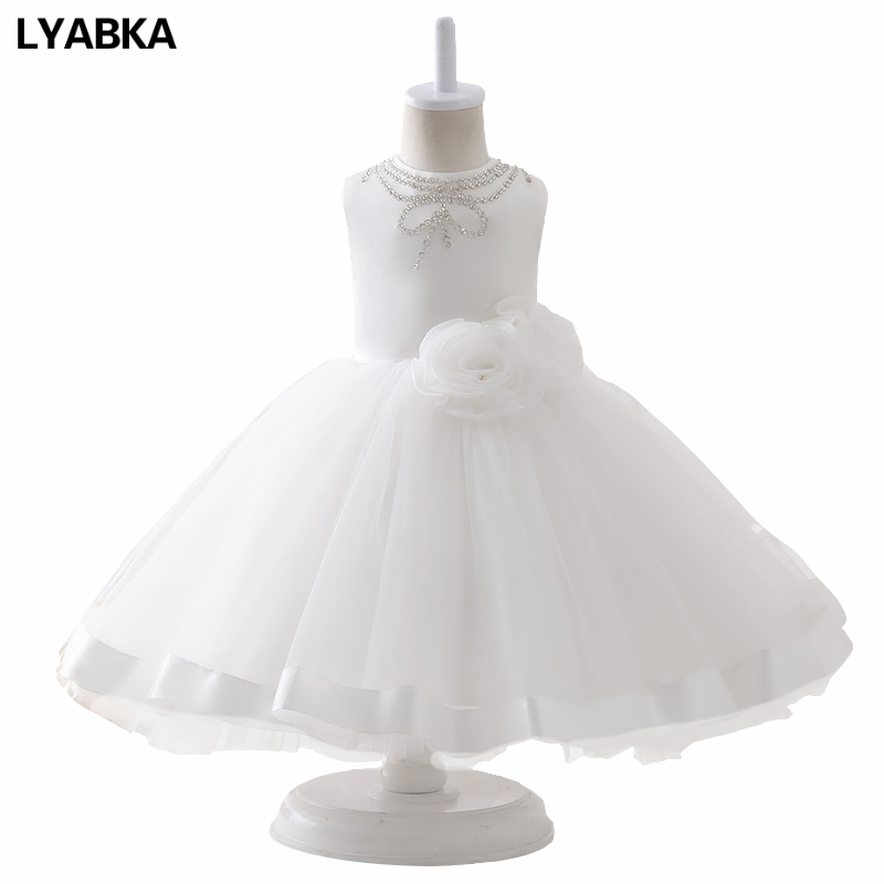 Evening White Organza With Flowers Ball Gown Flower Girl Dresses 2019 New First Flower Girl Dress vestidos de primera comunion