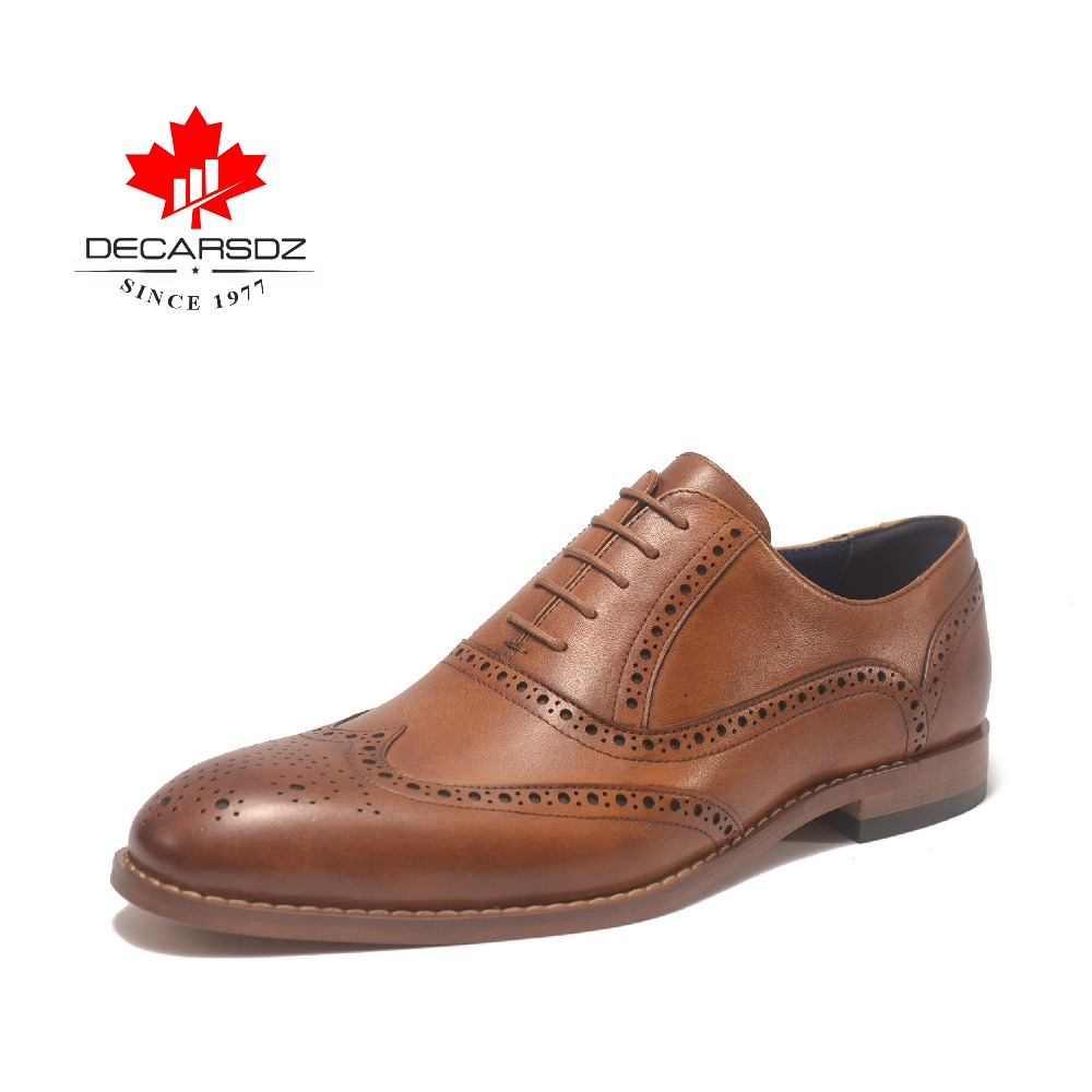 2019 Genuine Leather Dress Shoes For Men British Brand Formal Shoes Full Grain oxford shoes Business