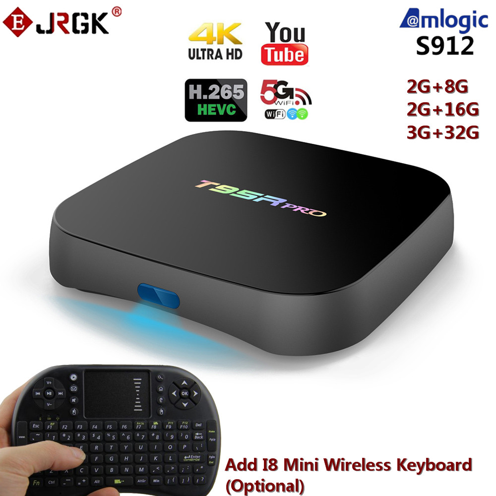 T95 Series T95R PRO Amlogic S912 Android TV Box Octa core 2G/16G Android 6.0 TV Box WiFi 2.4G/5.8G BT4.0 H.265 4K Smart Player x player android 6 0 amlogic s912 2g 16g tv box tronsmart tsm01