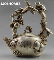 MOEHOMES Asia Collectible Decorated Tibet Silver Carve Bird On Grape Tree home decoration gifts Metal crafts Tea Pot