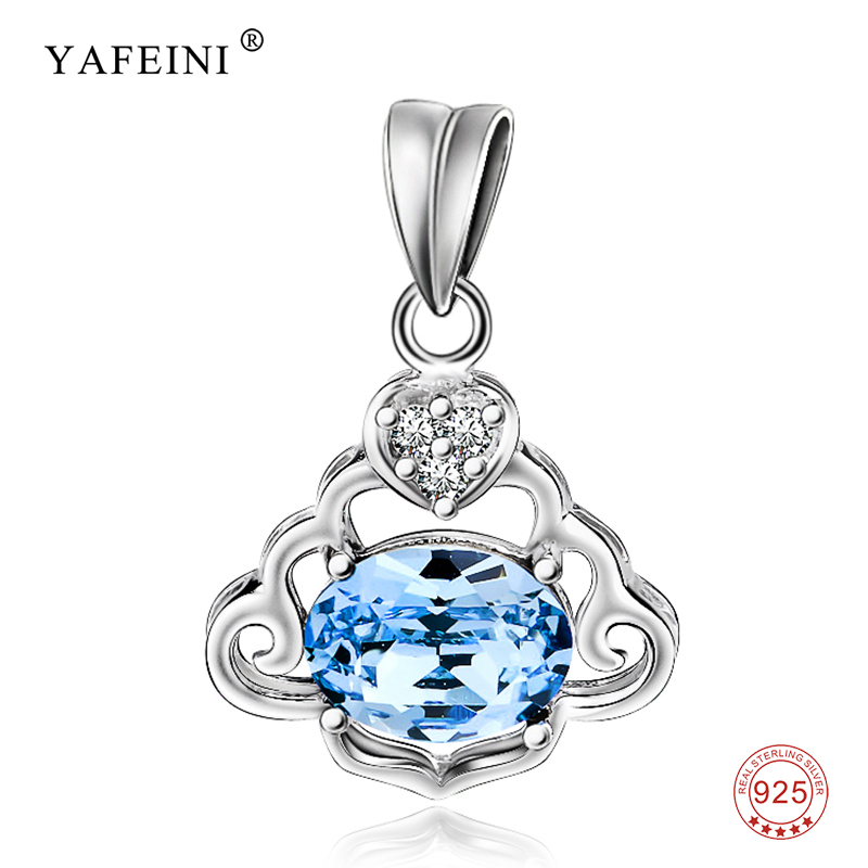925 Sterling Silver Pendant Beauty Luxury Classic Romantic Blue Crystal Necklaces Pendants Fashion Jewelry For Women