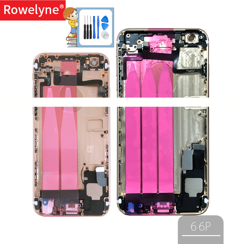 6 6P Full Housing For Iphone 6G 6 Plus 6Plus Back Battery Cover Door Metal Middle Chassis Frame With Flex Cable Parts Assembly