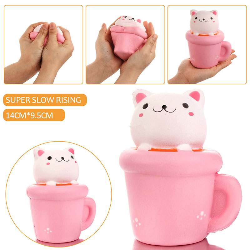 Jumbo Cute Emoji Face Milk Box Carton Cat Cup Squishy Slow Rising Soft Squeeze Scented Bread Cake Kid Fun Toy Gift Wholesale