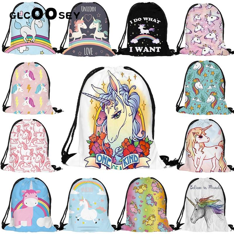 1PC Hot Sale Unicorn 3D Digital Printing Gril's Drawstring Pocket Backpack Female High-quality Drawstring Bag Cute Unicorn Bags