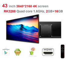 43 inch Android 4K All in one pc(3840*2160, Quad core, 1.8Ghz, Android5.1 2GB DDR3, 16GB nand flash, Bluetooth, 400*400mm VESA)