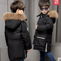 Boys Winter Jackets Fur Hooded Collar Teenage Boys Winter Coats Children Duck Down Jackets Kids Outerwear for 6-13T