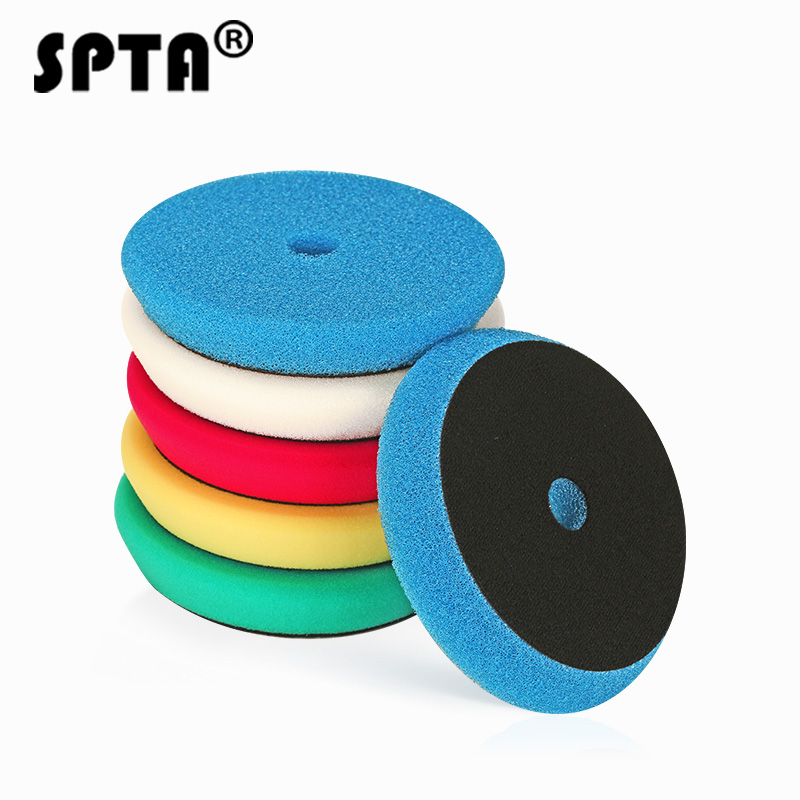 SPTA 6inch (150mm) Light Cut And Finish Buffing Polishing Pads Buffer For RO/DA Car Dual Action Waxing Polisher Mix Color 5Pcs