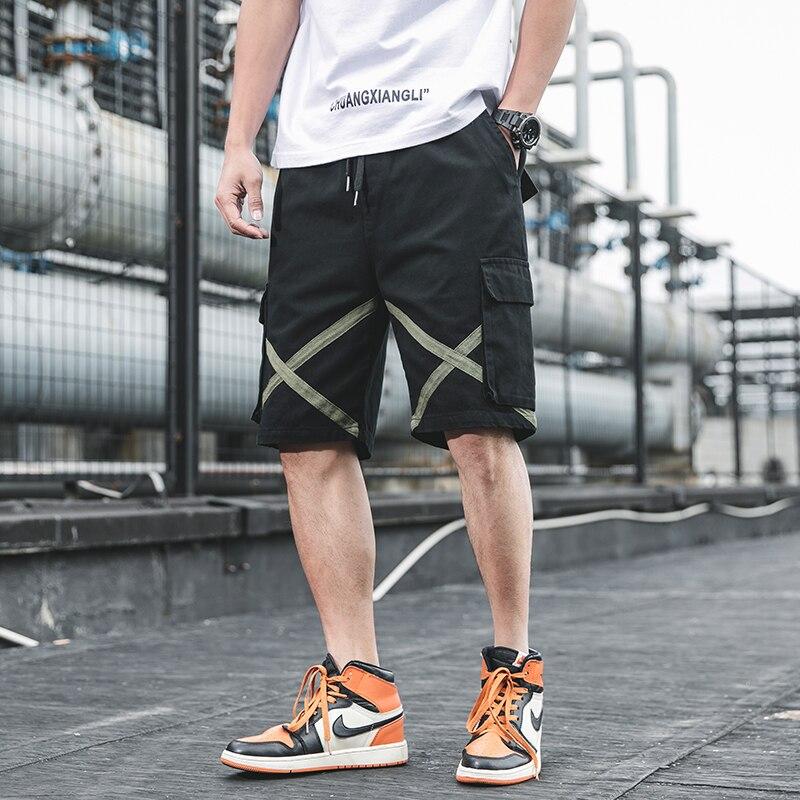 Streetwear Baggy Cargo Shorts Men Summer 2020 Hip Hop Mens Casual Shorts Male Elastic Waist Ribbons Man Bermuda Shorts