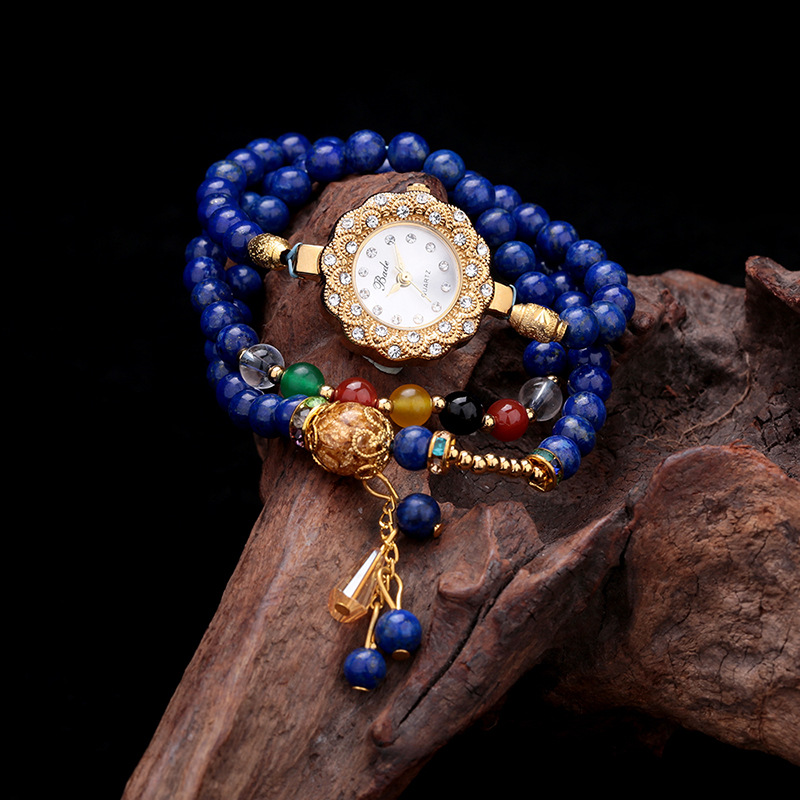 New Arrival Brand Women Natural Purple Crystal Bracelet Watch National Style Chain Bracelet Watch Crystals Chain Bangle Watch new arrival grace bs brand full diamond luxury bracelet watch hot sale women 14k austrian crystals watch lady rhinestone bangle