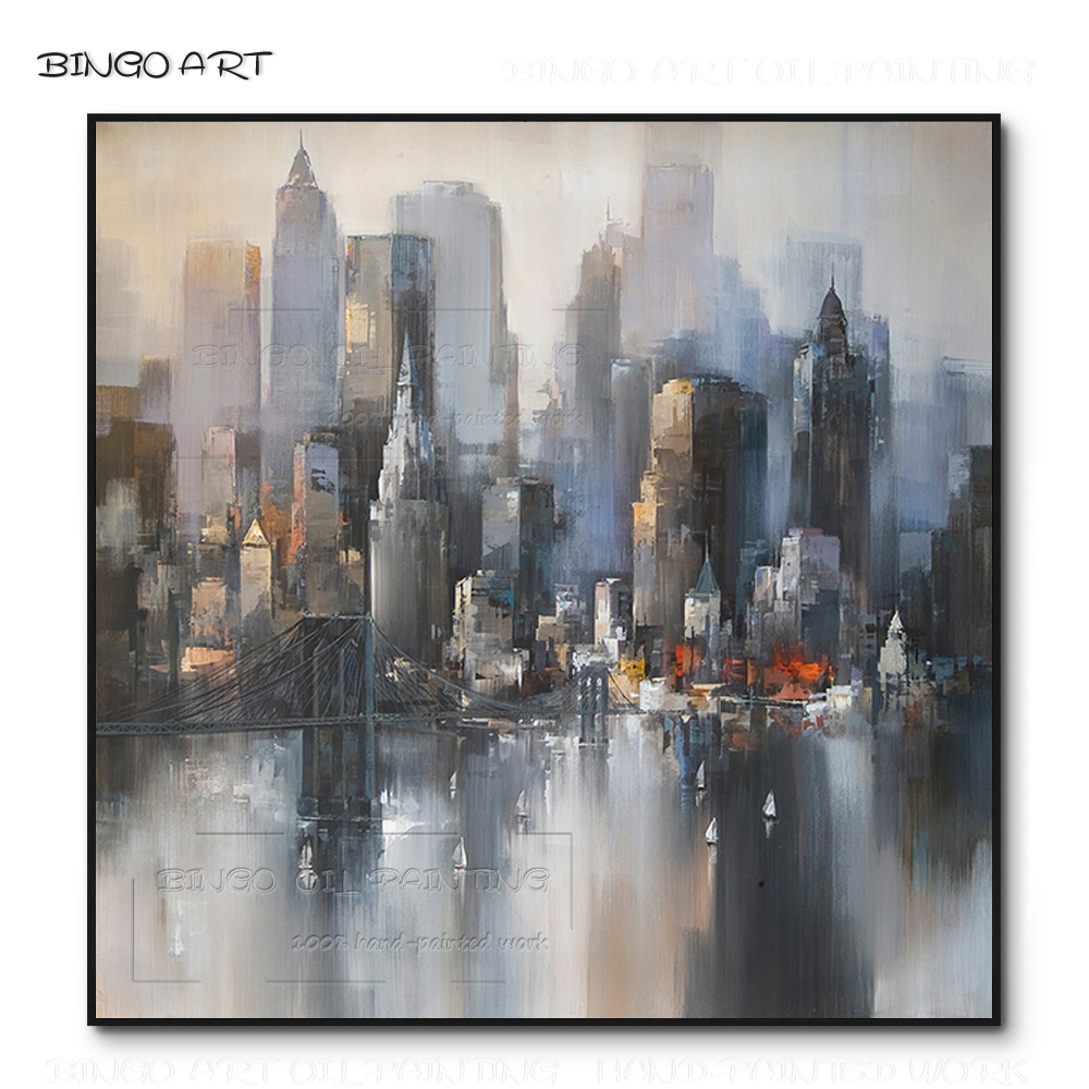 Hand painted High Quality Abstract New York City Landscape Painting on Canvas Beauty Art Abstract Urban Skyscraper Oil Painting