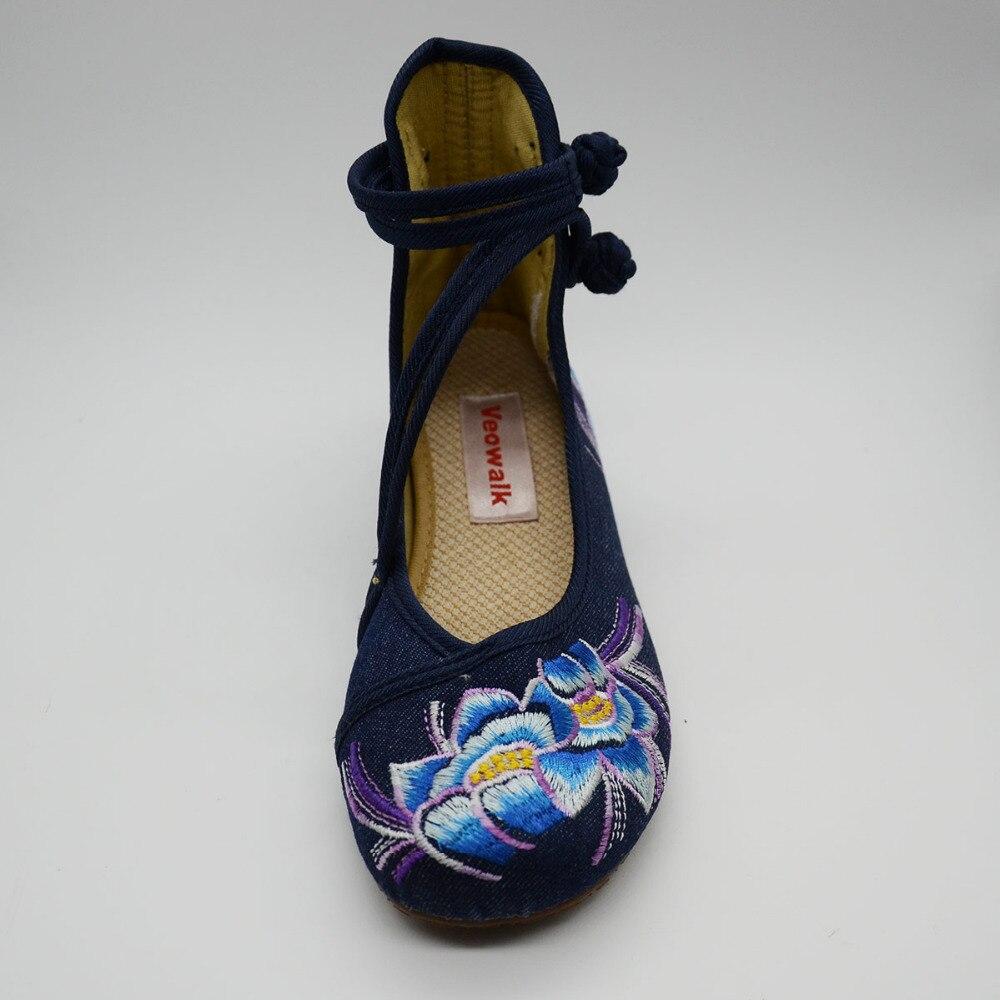 Image 5 - Veowalk zapatos de Ballet informales para mujer con flores bordadas a mano, zapatos de algodón de mezclilla suave para mujer con correa en el tobilloballet flatscotton shoesankle strap -