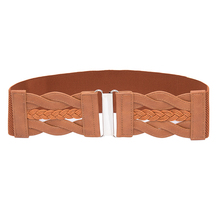Seabigtoo Woven wide belts for women sliver buckle ladies dresses female brand luxury high quality tops