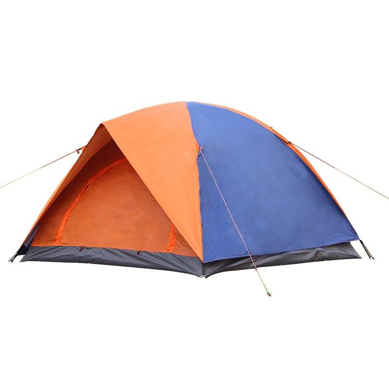 Camping en plein air Tente 3-4 Personne Tente Double Couche Tige En Fiber De Verre Étanche À La Pluie Coupe-Vent 2 Couleur Auvent Extérieur Touristique Tente AC21