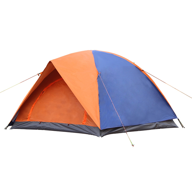 Outdoor Camping Tent 3-4 Person Tent Double Layer Fiberglass Rod Rainproof Windproof 2 Color Outdoor Canopy Tourist Tente AC21