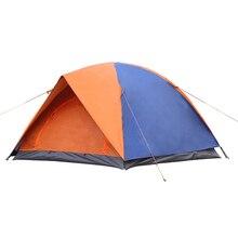 Открытый Палатки Кемпинга 3-4 Человек Палатка Двойной Слой Стекловолокна Стержень Непромокаемые Ветрозащитный 2 Цвет Открытый Навес Туристические Tente AC21