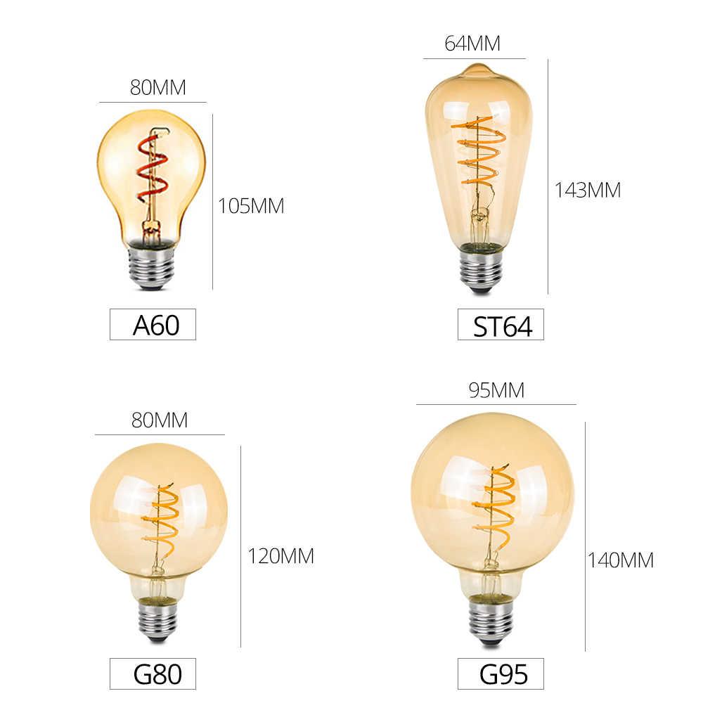 A60 ST64 G80 G95 спираль светодиодный светильник Светодиодная лампа, лампы накаливания лампы E27 3 W 2200 K Ретро Винтаж лампы лампада светодиодное декоративное освещение