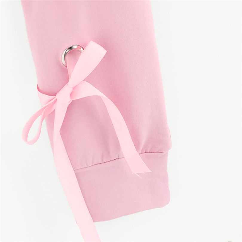 6d38208dac3 Aliexpress.com : Buy Pink Sweatershirt Oversized Hoodie Women Casual Lace  Up Long Sleeve Pullover Crop Top Solid Sweatshirt Dropshipping 40AT24 from  ...