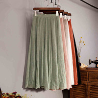 2015 Summer Style New Cotton Linen Double Layer Solid Women Skirts Elastic Waist Soft Comfortable Vintage