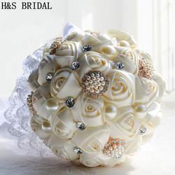 Шикарные Свадебные цветы Свадебные букеты цвета слоновой кости фиолетовый Искусственный Свадебный букет кристалл блеск с жемчугом 2019 buque