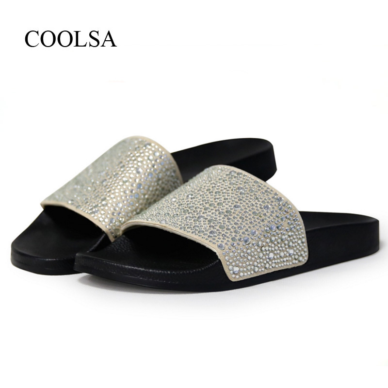 COOLSA Women's Solid Flat Rhinestone Bling Slippers Women's Non-slip Indoor Crystal Slippers Beach Flip Flops Women's Slides Hot
