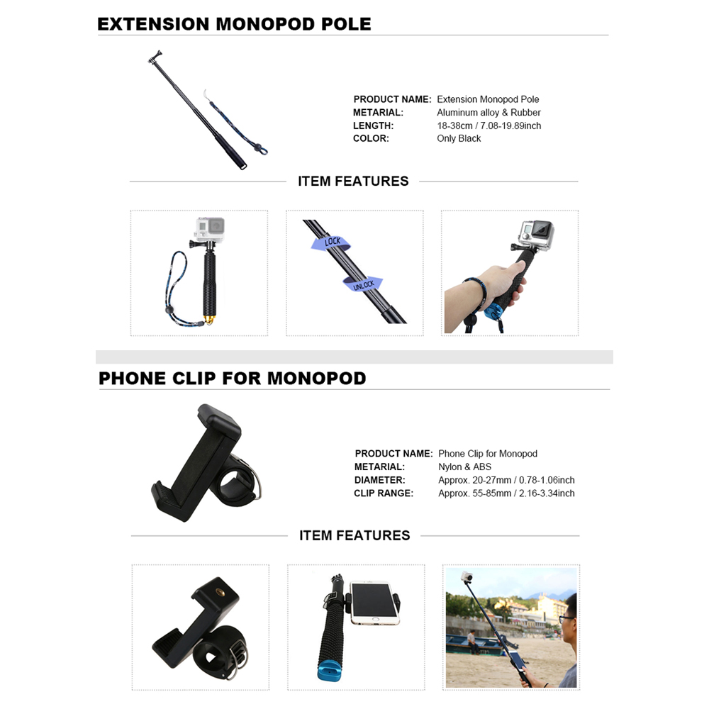 Para GoPro accesorios Set para Go Pro Hero 7 6 5 4 3 kit Selfie Stick monopié adaptador de montaje para yi 4K Sjcam Sj4000 Eken H9r - 2