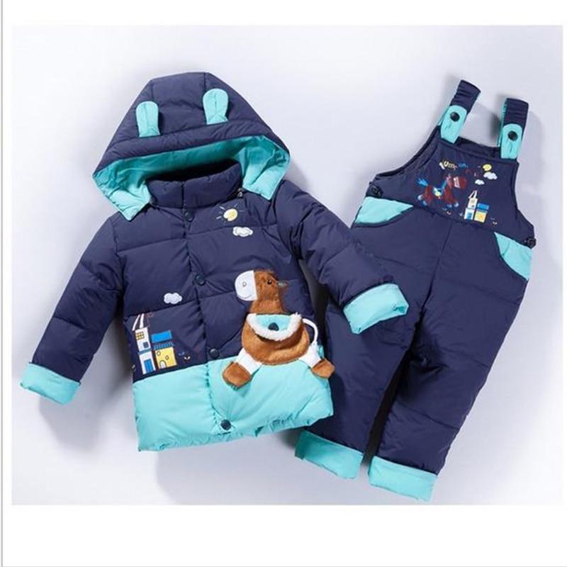 cartoon baby Children boys girls winter warm down jacket suit set thick coat+jumpsuit baby clothes set kids jacket animal Horse