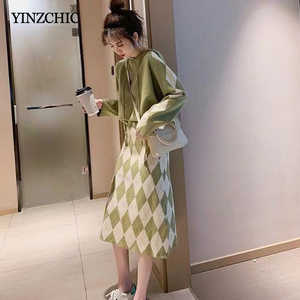 Image 2 - New Woman Winter Knitted Suits Hoody Sweater A line Skirt Set for Woman Female Casual Two pieces Sets
