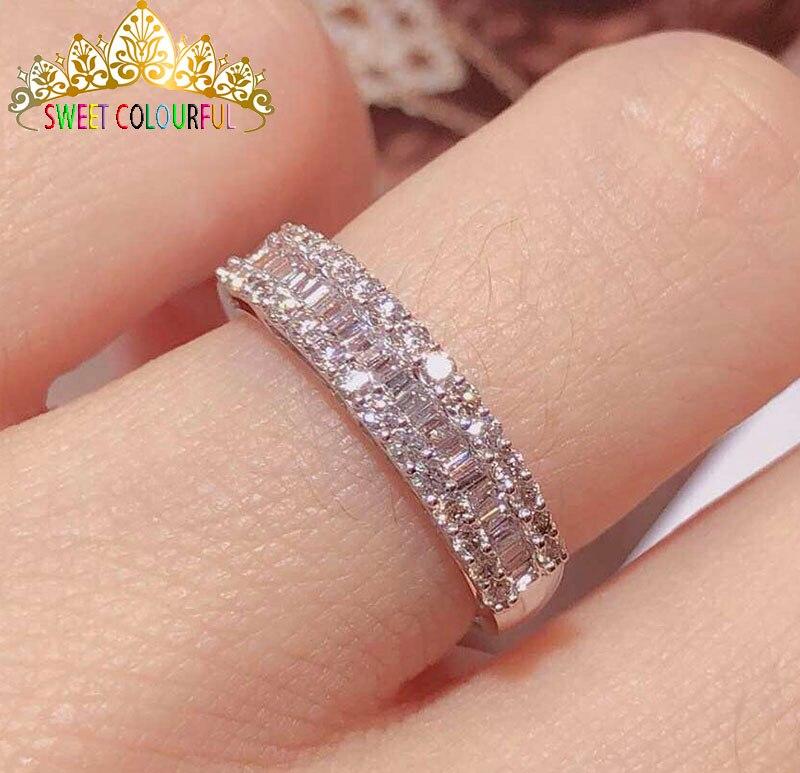 الزفاف 100% مويسانيتي الماس خاتم حقيقية 18K 750 الأبيض الذهب D اللون VVS مو 003-في خواتم من الإكسسوارات والجواهر على  مجموعة 2