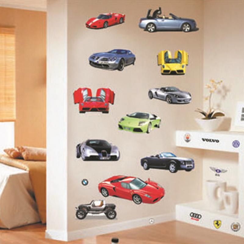 100 90 cm cartoon car wall sticker for kids rooms children for Cars wall mural sticker