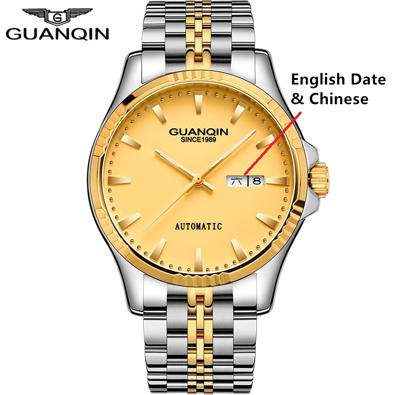 Newest GUANQIN Automatic Mechanical Watch Men Luxury Brand Mens Watches Date Steel Sapphire Wristwatches Waterproof Male Clock guanqin men automatic mechanical watch diamond waterproof sapphire watches steel men luxury top brand menb gold wristwatches