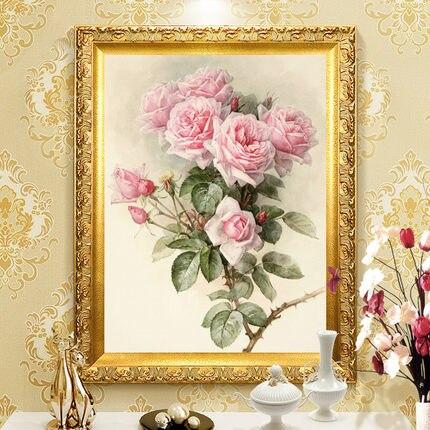 Needlework,DIY Cross Stitch,Set For Embroidery Kit,pink Rose Peony Flower Print Pattern Cross-stitch Handwork Painting Wedding