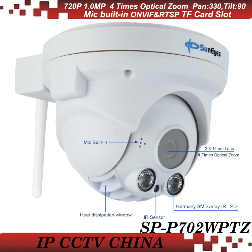 SunEyes SP-P702WPTZ ONVIF Wireless PTZ Dome IP Camera 720P HD with Pan/Tilt/Zoom Micro SD/TF Card Slot Array IR LED suneyes sp p702w┬а720p wireless┬аdome┬аeyeball hd ip┬аcamera┬аw tf onvif motion 2 led ir night vision