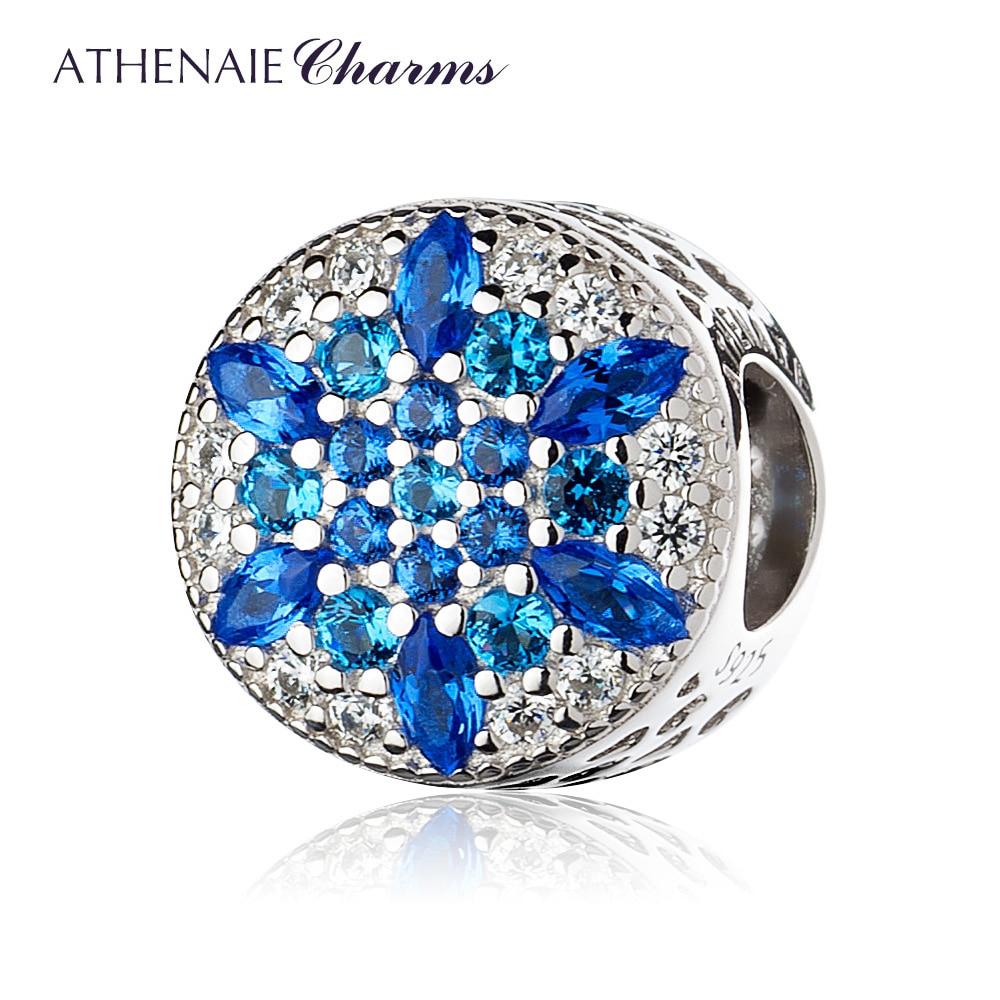 ATHENAIE 925 стерлингового серебра синие кристаллы и ясно CZ кристаллизуют Снежинка Шарм Fit Все европейские Браслеты Цепочки и ожерелья