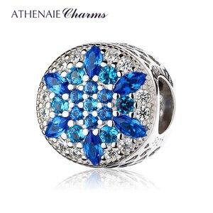 Image 1 - ATHENAIE 925 пробы серебристо голубые кристаллы и прозрачный CZ кристаллический снежинка очарование подходит для всех европейских браслетов ожерелье