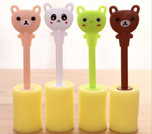 1PC Kitchen Cleaning Tool Sponge Brush For Wineglass Bottle Coffe Tea Glass Cup Fashion And Cleaning Sponge Brush OK 0166 sponge plastic cup cleaning rod white