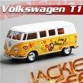 Caliente venta 1 unid 1:32 12.5 cm mini delicada Volkswagen pintura autobús minibús tire hacia atrás de aleación modelo de simulación de la decoración del coche de juguete de regalo