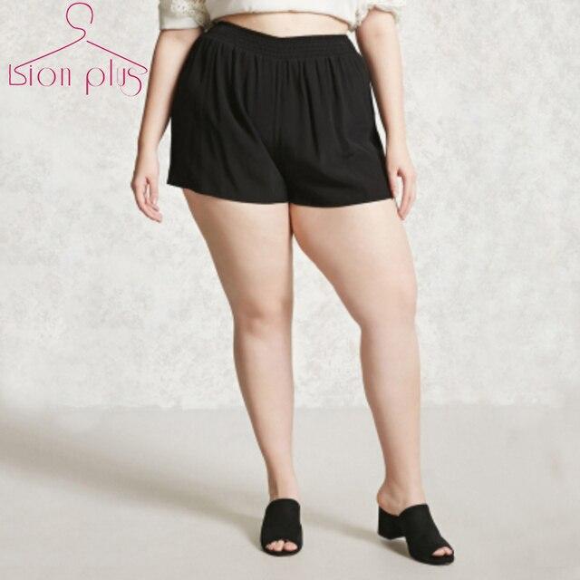 bfebcbc75eecd5 Kurze Schwarze Frauen Shorts Große Größen 7XL 6XL 5XL 2017 Sommer solide  mode elastische taille mid