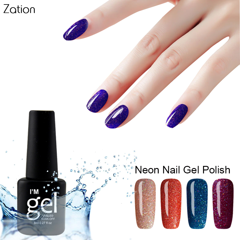 Zation Neon Nail Gel Bling Nail Polish Fluorescence Top